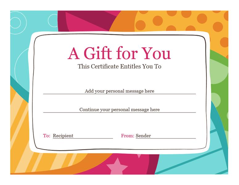 Birthday Gift Certificate Template Mac