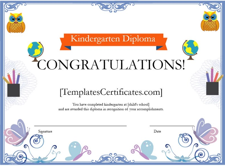 Kindergarten Diploma Certificate Template - Free Certificate