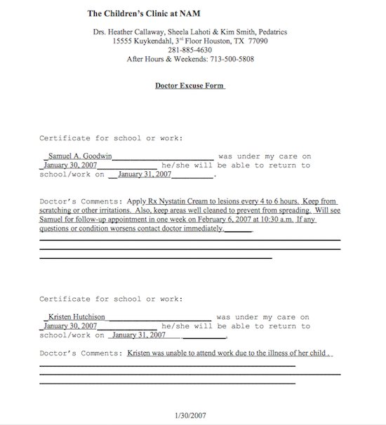 Free Doctor39s Note Excuse Note Templates Template Section