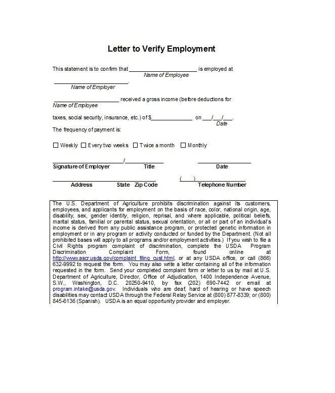 Free Proof of Employment letter, Verification Forms Templates-Word