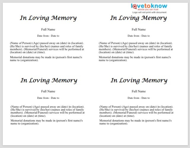 Free Obituary Templates-Word, Pdf, Sample - Template Section