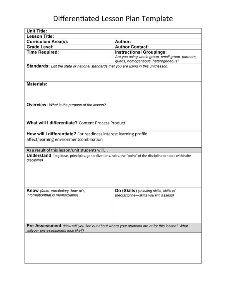 differentiated lesson plan template - Roho4senses - unit lesson plan template
