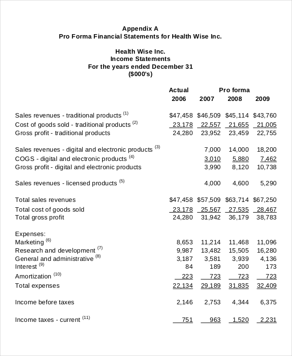 Income Statement Sample Sample Income Statement Format Download