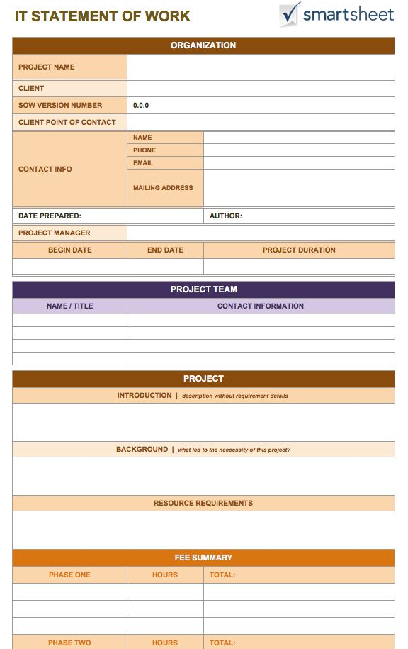 Statement of Work Template - 8+ Free Word Excel PDF - Template Section