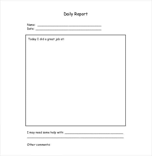 Daily Report Templates - 8+ Free Samples Excel Word - Template Section