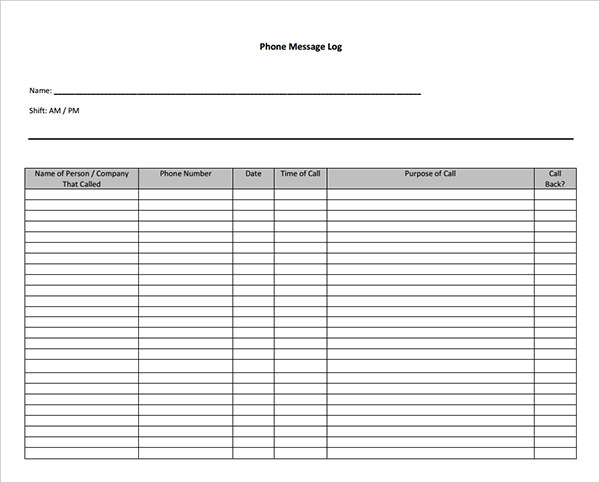 Phone Message Template - 5+ Free Word Log - Template Section - name and phone number template