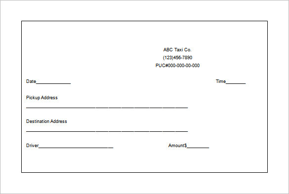 Taxi Receipt Templates - Free 8+ Sample Word PDF - Template Section - sample invoice template