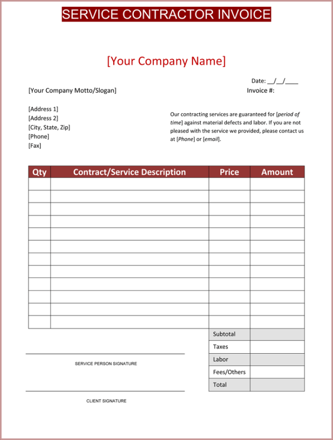 independent contractor invoice template word  Contractor Invoice Templates - 10  Free Excel Word PDF - Template ...