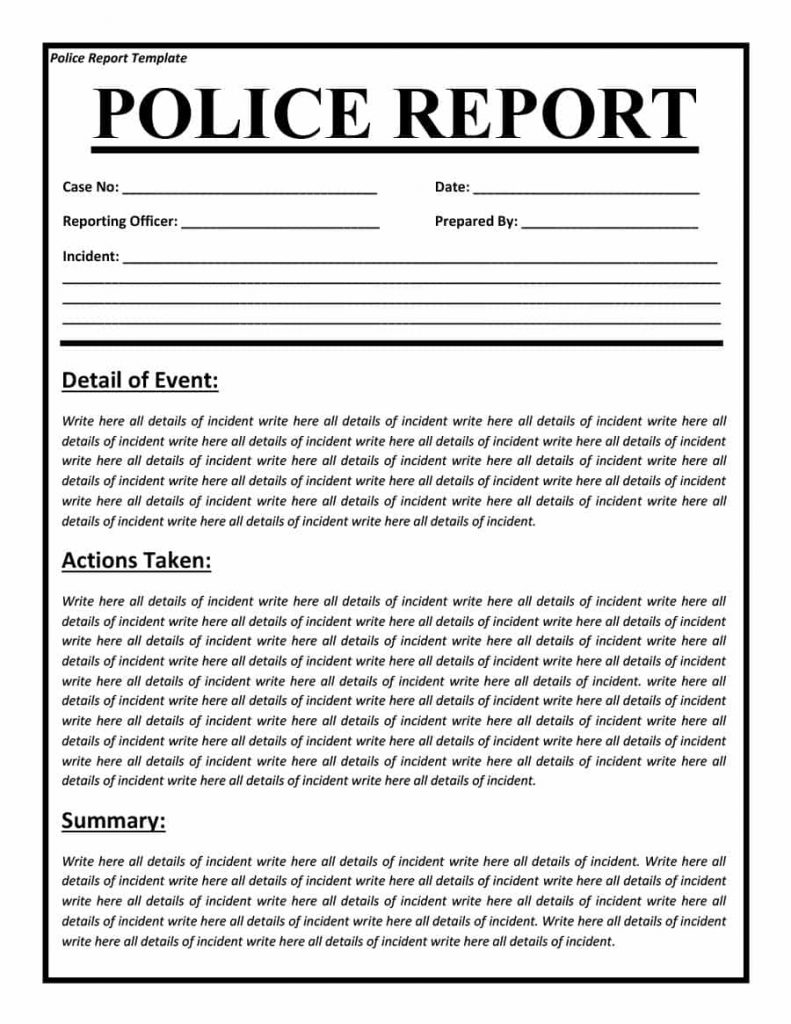blank police report template pdf