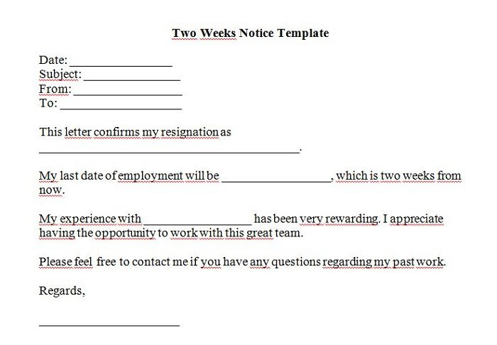 Two Week Notice Letter, Samples - Resignation Templates Example