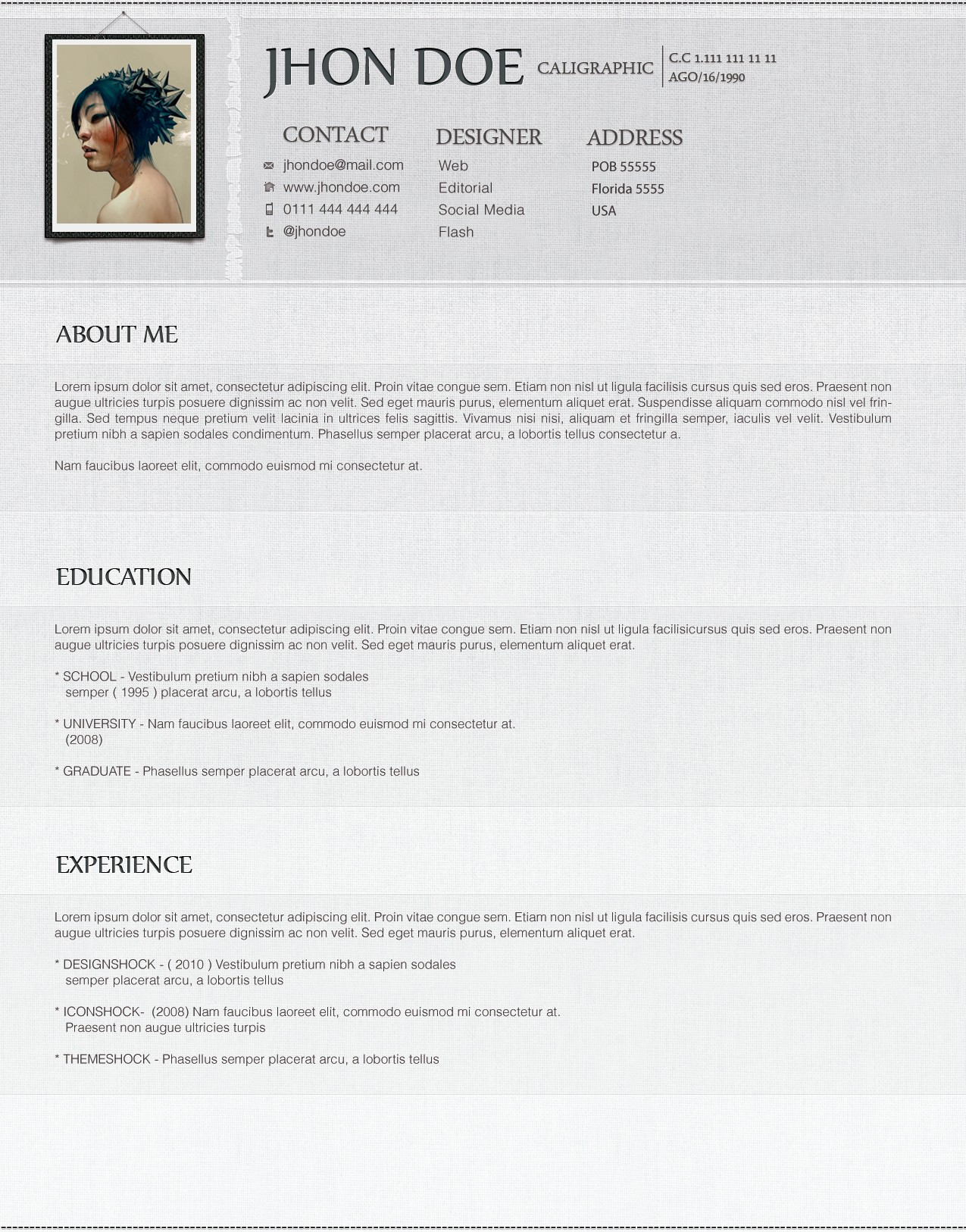 download cv website template