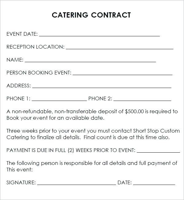 Best Of Catering Contract Template Word - Event Template