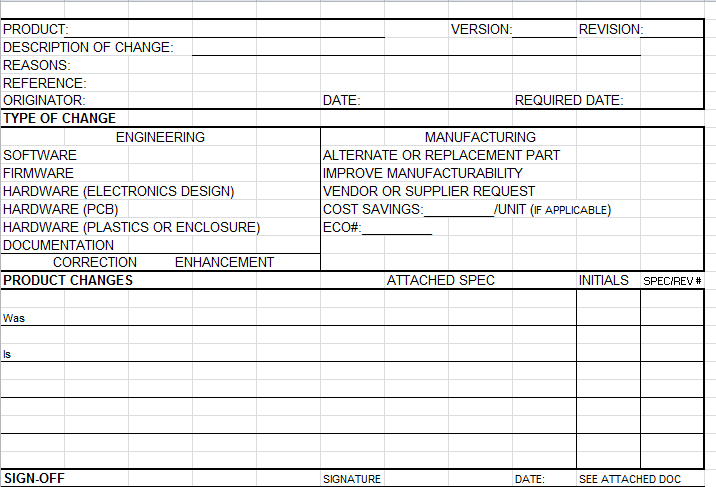 Ready to use product change notice form for Attribute gage r r excel template
