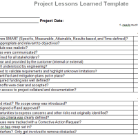 Project Management Lessons Learned Document for Microsoft Word