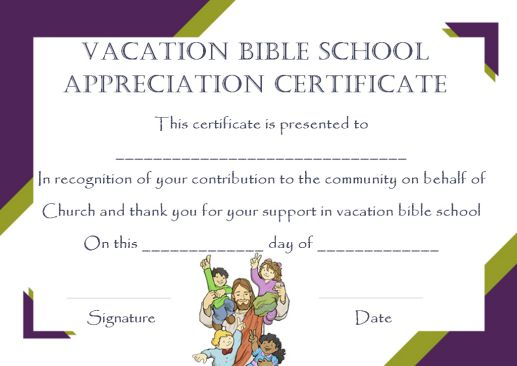 12+ VBS Certificate Templates for Students of Bible School (Church