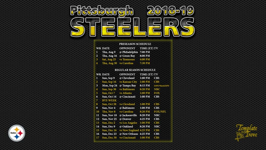 Steelers Wallpaper Hd 2018 2019 Pittsburgh Steelers Wallpaper Schedule