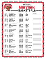 Maryland Basketball Schedule