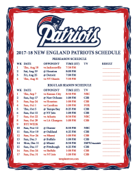 Printable 2017-2018 New England Patriots Schedule