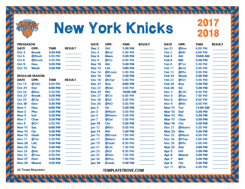 2017 And 2018 Calendar Printable Printable 2017-2018 New York Knicks Schedule