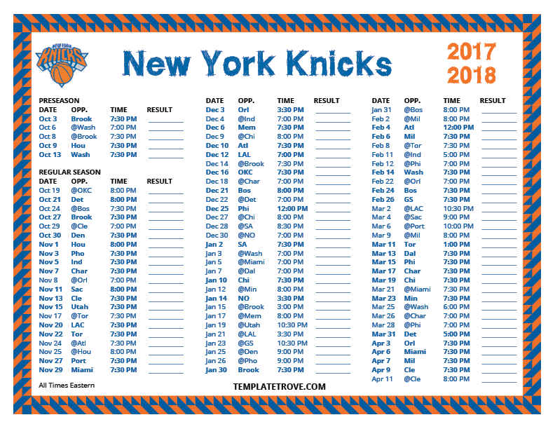 New York Knicks The Official Site Of The New York Knicks Printable 2017 2018 New York Knicks Schedule