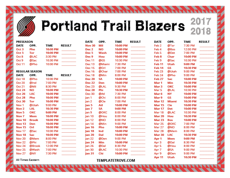 Make Your Free Calendar 2013 Template In Powerpoint Printable 2017 2018 Portland Trail Blazers Schedule