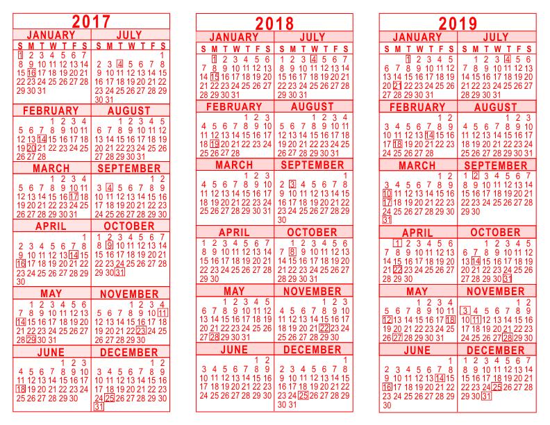one sheet calendar 2019