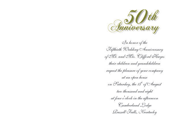 50th Wedding Anniversary Invitations - anniversary invitation template