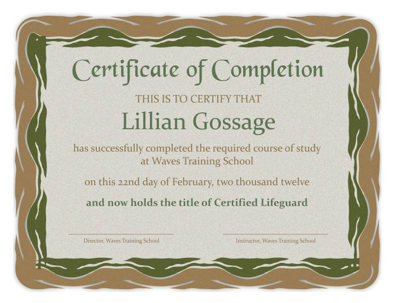 Certificate Of Completion Wording - Oloschurchtp.com