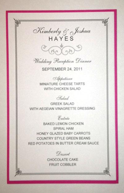 Half Sheet Wedding Menu Template 2