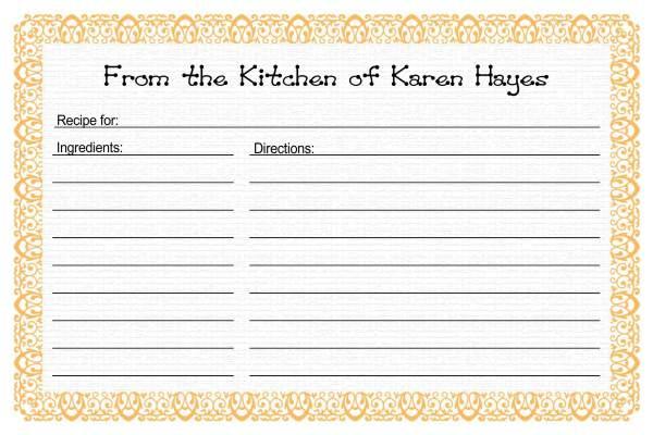 Recipe Card Templates - recipe card