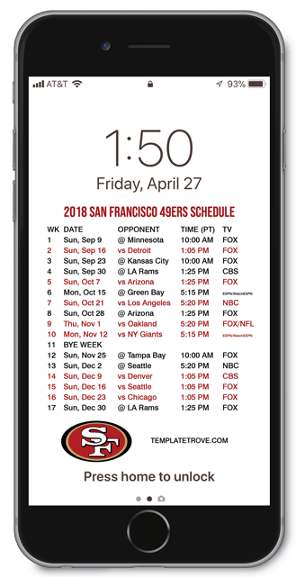 Arizona Cardinals Wallpaper Iphone 2018 2019 San Francisco 49ers Lock Screen Schedule For