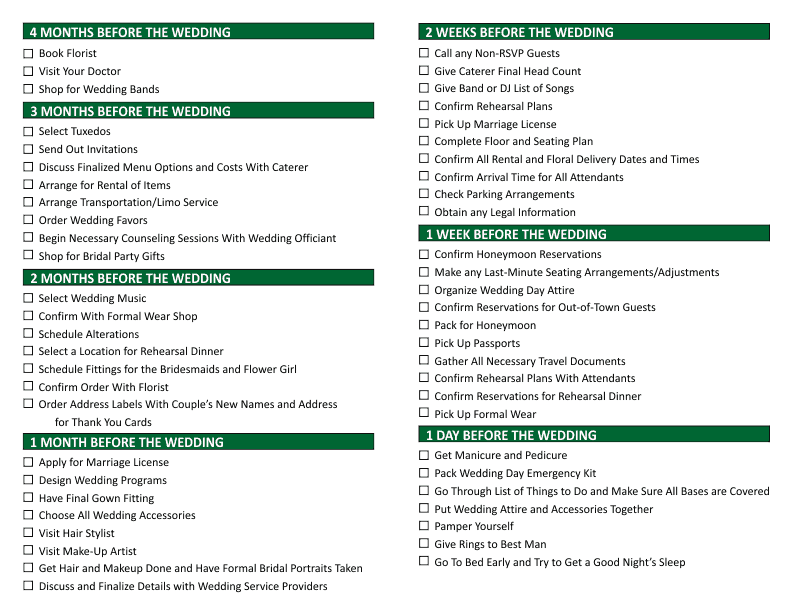free wedding planning checklist
