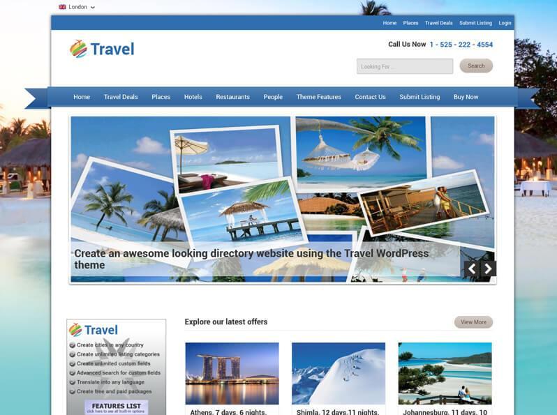 WordPress Travel Theme Responsive Travel Directory Theme 2018 - wordpress travel themes