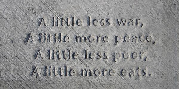 One of the poems included in Everyday Poems for City Sidewalk, a project of Public Art Saint Paul and the City of Saint Paul led by City Artist in Residence, Marcus Young.