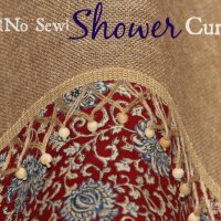 {No Sew} Burlap Shower Curtain