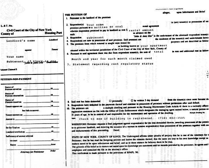 TenantNet - A Tenant\u0027s Guide To Housing Court - eviction warning letter