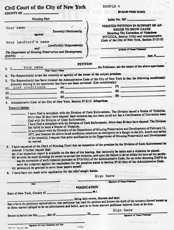 TenantNet - A Tenant\u0027s Guide To Housing Court - how to write petition guide