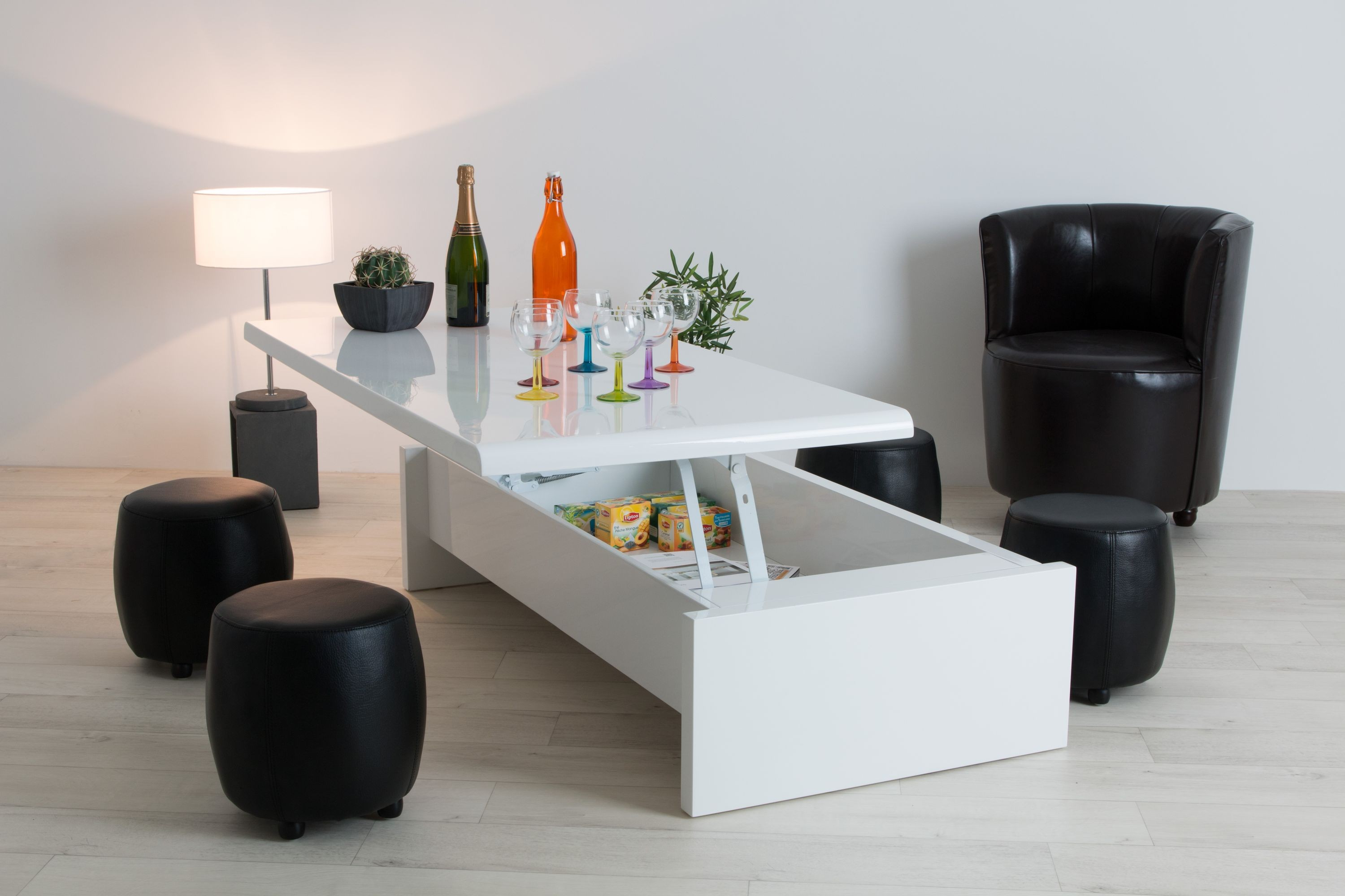 Table Basse Relevable Blanc Laqué Table Basse Relevable à Led Tendancesdesign Fr