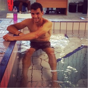 Grigor Dimitrov sexy shirtless naked ice bath cool water pool pictures images photos January 2014