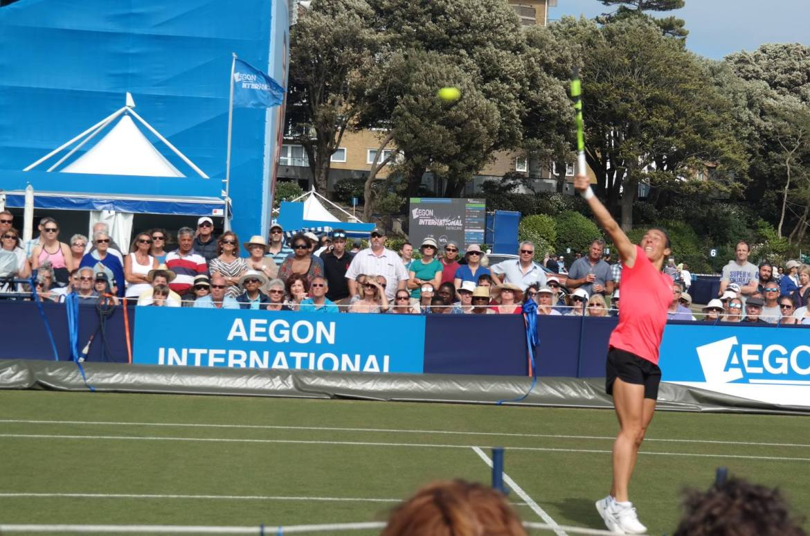 Francesca Schiavone in action at the Eastbourne qualifiers