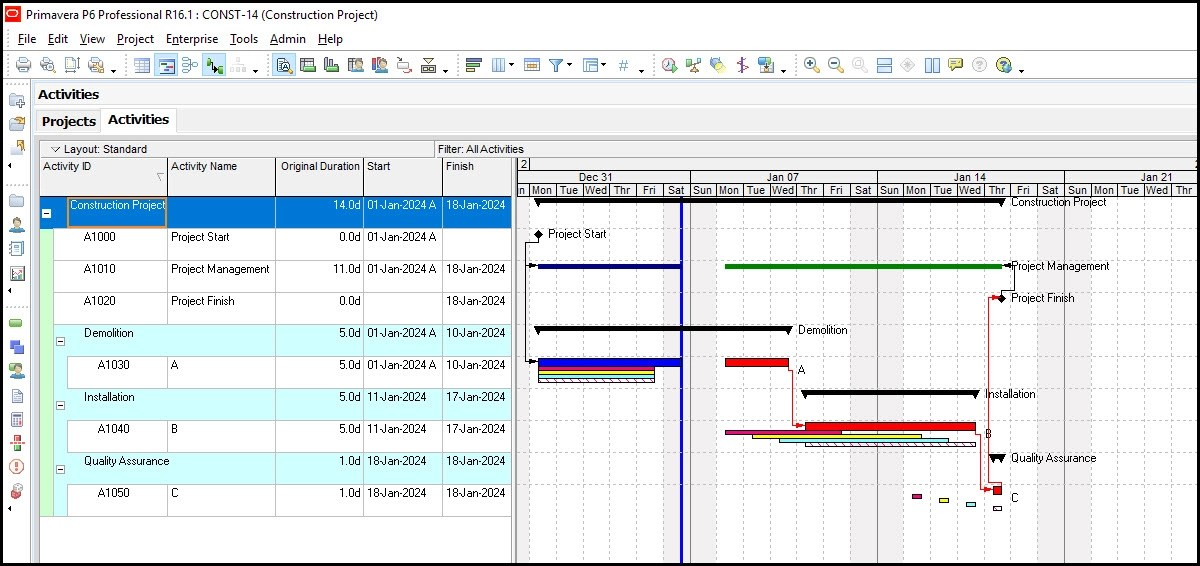 How to Display 4 Baselines on the Gantt Chart in Primavera P6 - gantt chart