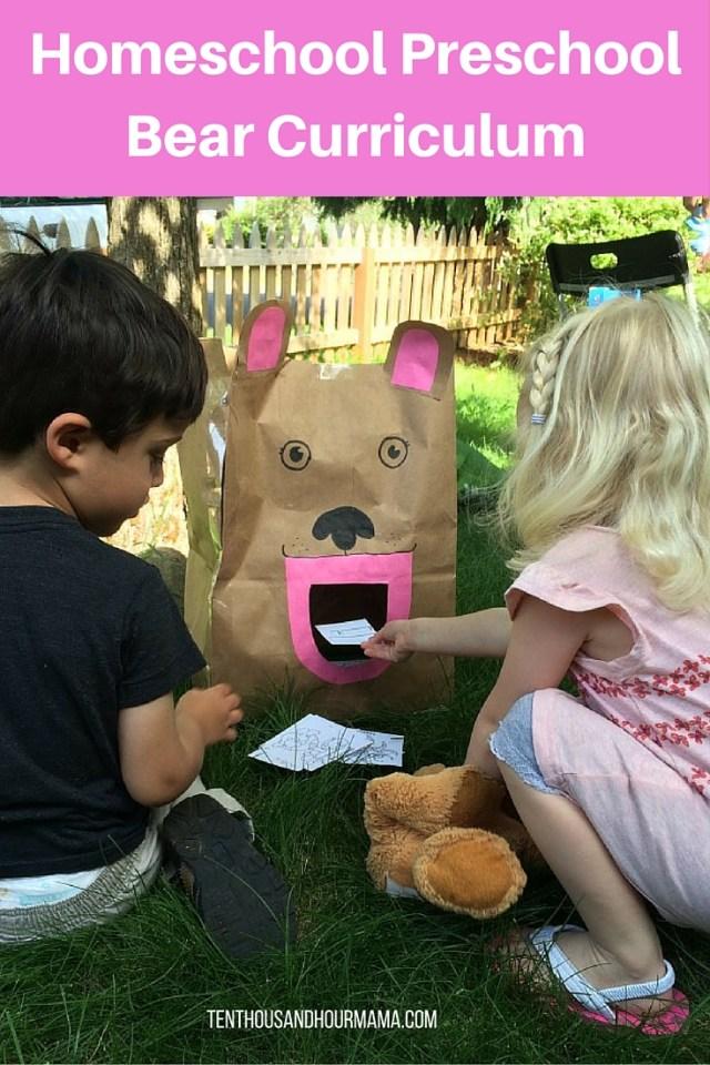 homeschool preschool bear curriculum