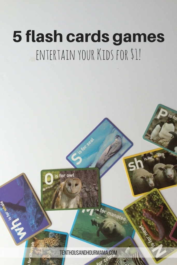 All you need for these 5 games is a pack of flash cards—just $1 at the store. Your kids will have fun with these easy, portable kid friendly activities! Ten Thousand Hour Mama