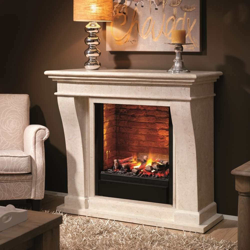Cheminee Ethanol Design Bois Kreta Fossil Stone Fireplace Surround For Electric Or Bio Ethanol