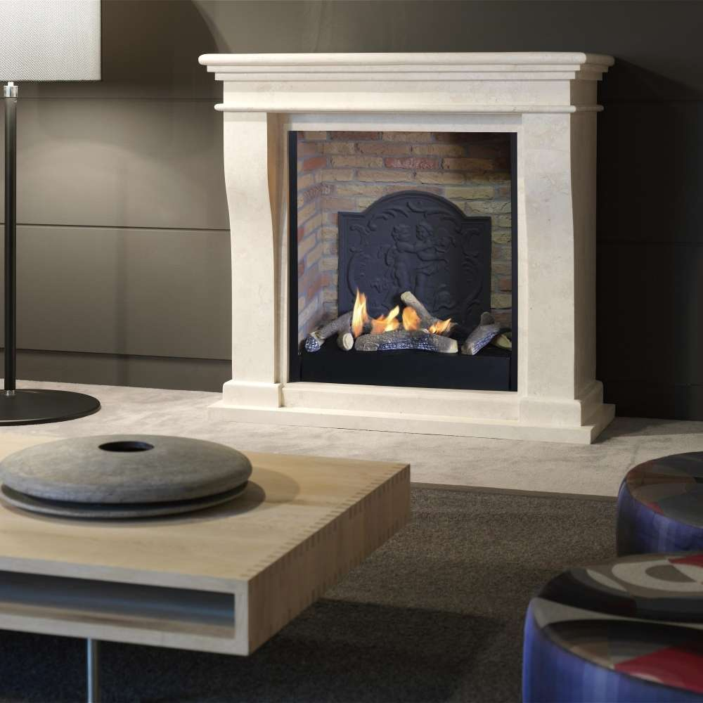 Insert De Cheminée Bioéthanol Kreta Mini Fossil Stone Fireplace Surround For Electric Inserts