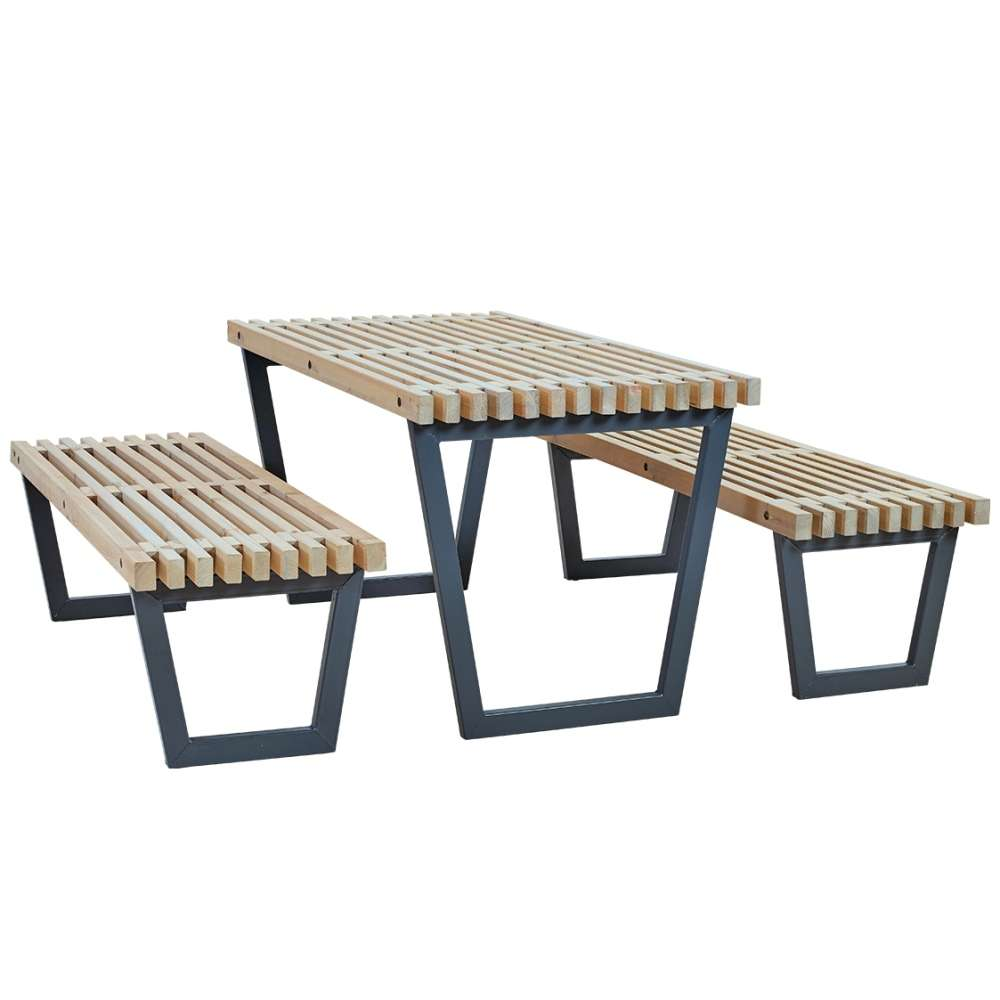 Table Bois Jardin Siesta Garden Table Set Including Table 2 Garden Benches And