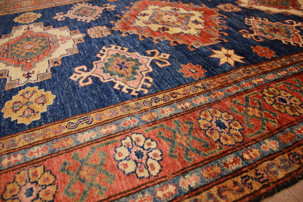 Kazak Teppiche Oriental Carpet Kazak Virgin Wool 190x135 Cm Blue