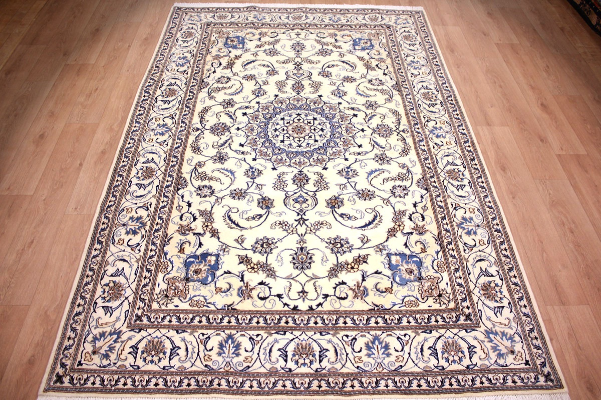 Teppich 300x200 Persian Carpet Nain Wool And Silk 300x200 Cm Beige