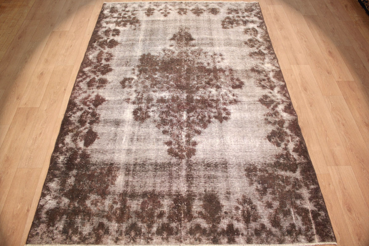 Online Teppich Vintage Carpet Modern Overdyed Used Look 306x203 Cm Gray Brown