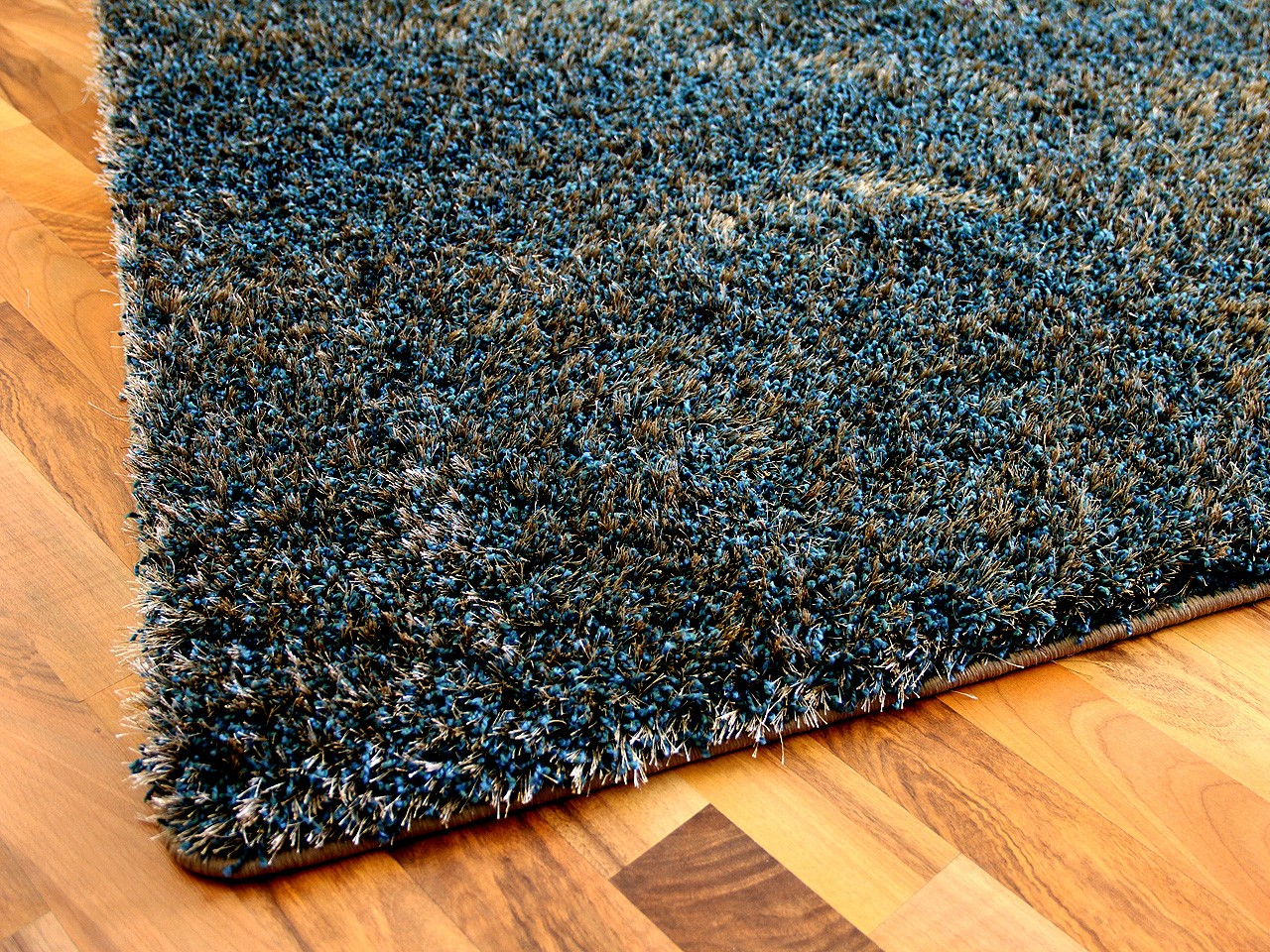 Teppich 24.de Hochflor Shaggy Teppich Luxus Feeling Mix Blau Gold In 24
